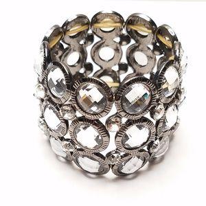 Bold Bling Rhinestone Metallic Stretch Bracelet